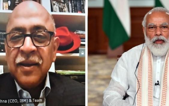 आईबीएम के सीईओ अरविंद कृष्णा से बात करते हुए बोले पीएम मोदी भारत में निवेश के लिए अच्छा समय