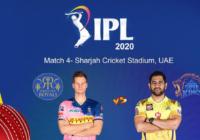 आईपीएल 2020 का चौथा मैच  राजस्थान रॉयल्स और चेन्नई सुपरकिंग्स के बीच एम.एस. धोनी ने टॉस जीतकर पहले गेंदबाजी करने का फैसला किया