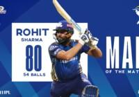 मुंबई इंडियंस ने कप्तान रोहित शर्मा की 80 रनों की पारी के बदौलत केकेआर को 49 रनो से हराया