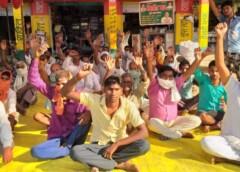 रामसनेहीघाट तहसील की ग्राम सभा सिल्हौर में धान क्रय केंद्र की मांग को लेकर भा0 कि0 यू0 का धरना तीसरे दिन भी रहा जारी